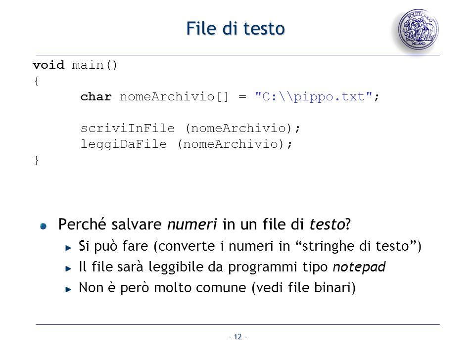 File di testo Perché salvare numeri in un file di testo