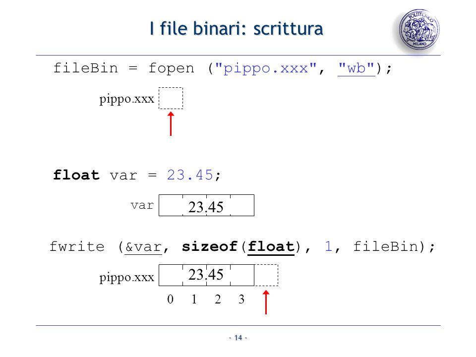 I file binari: scrittura