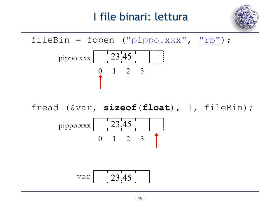 I file binari: lettura fileBin = fopen ( pippo.xxx , rb ); 23.45