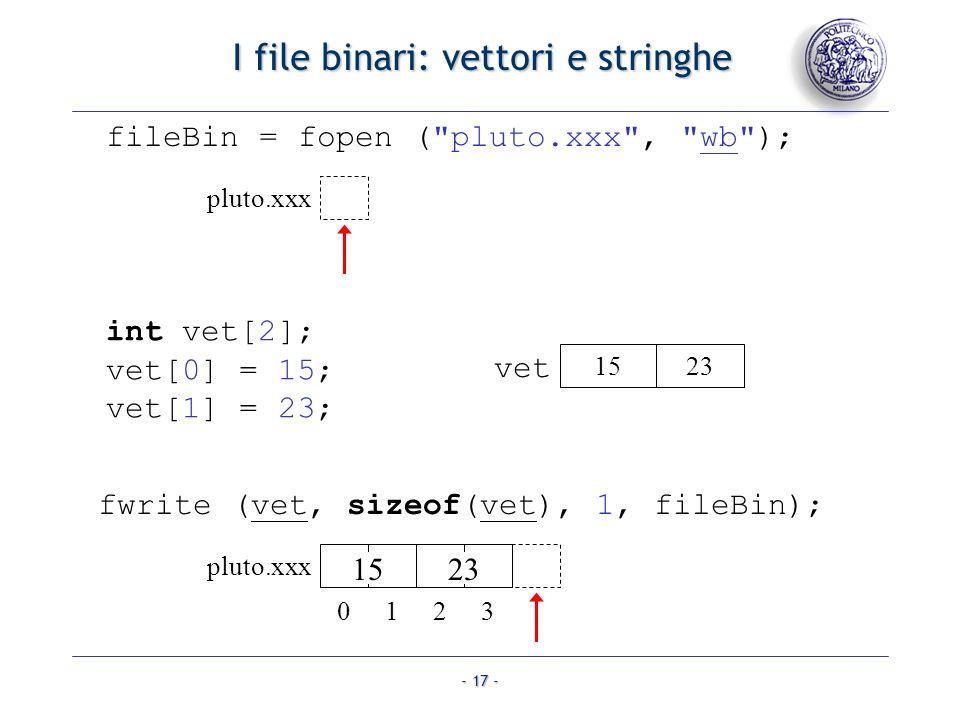 I file binari: vettori e stringhe