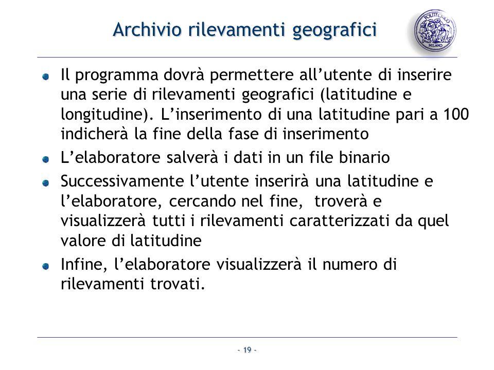 Archivio rilevamenti geografici