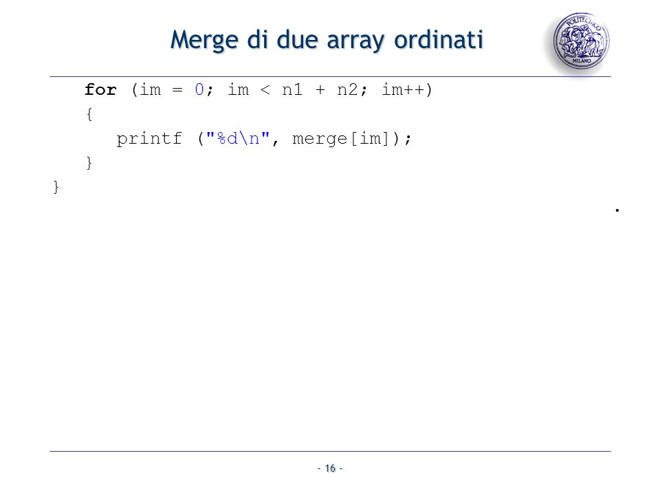 Merge di due array ordinati