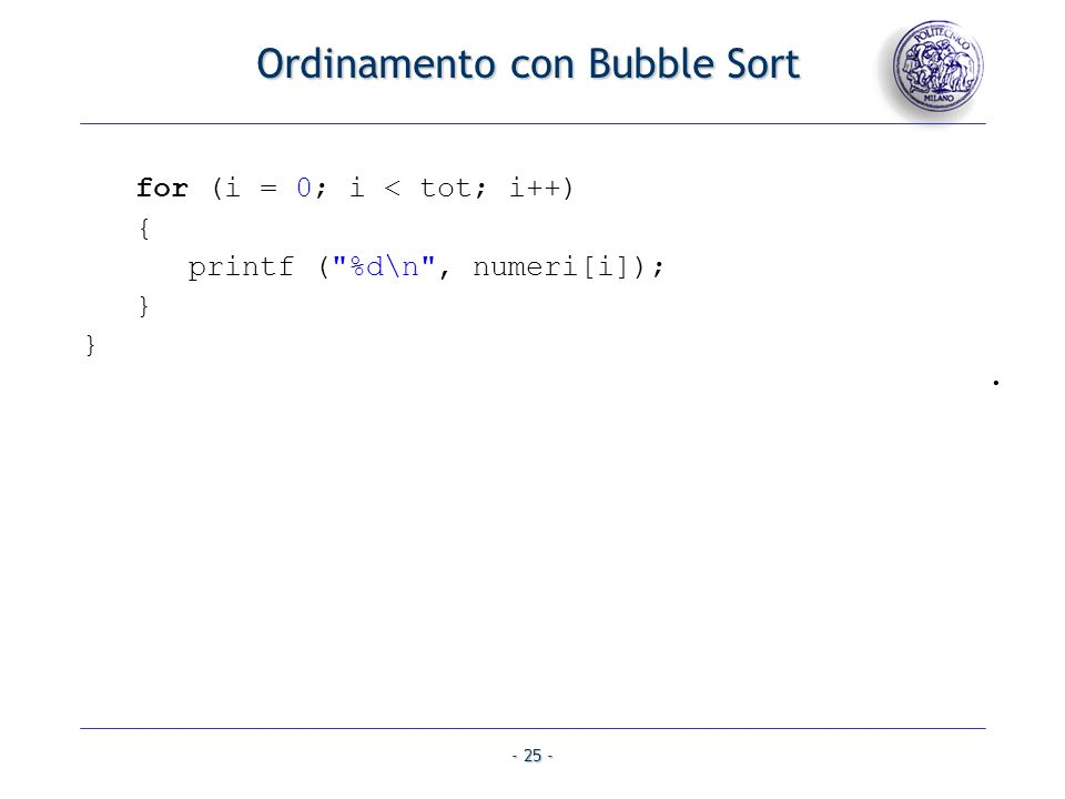 Ordinamento con Bubble Sort