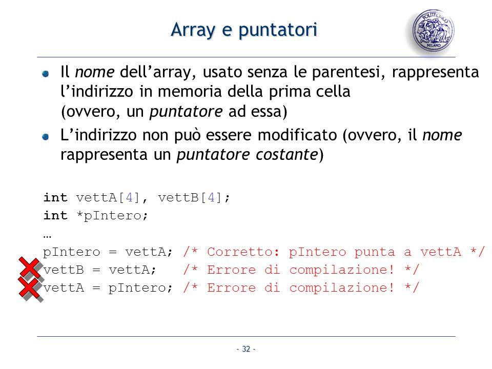 Array e puntatori Il nome dell'array, usato senza le parentesi, rappresenta l'indirizzo in memoria della prima cella (ovvero, un puntatore ad essa)