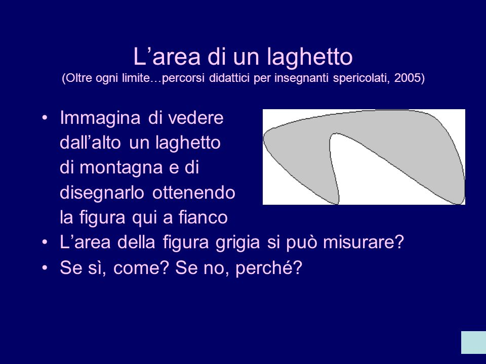 L'area di un laghetto (Oltre ogni limite…percorsi didattici per insegnanti spericolati, 2005)