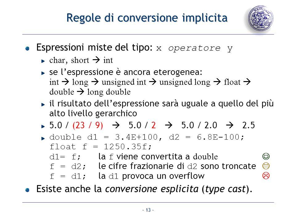 Regole di conversione implicita