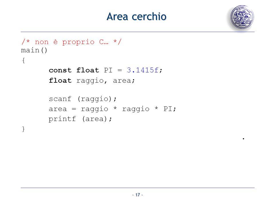 Area cerchio /* non è proprio C… */ main() { const float PI = 3.1415f;