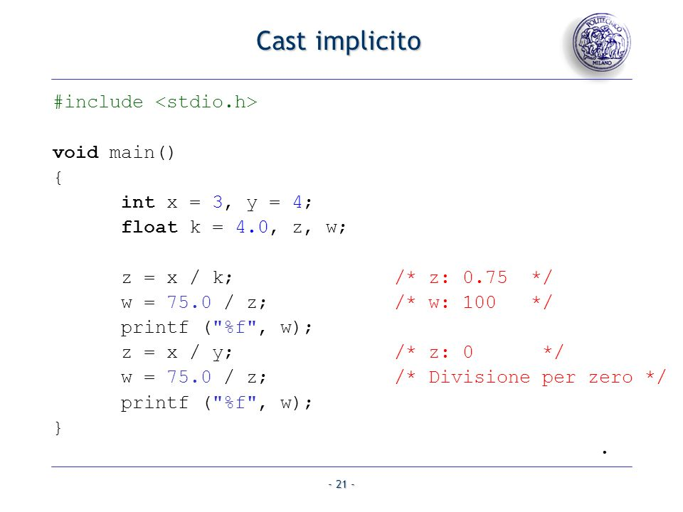 Cast implicito #include <stdio.h> void main() {