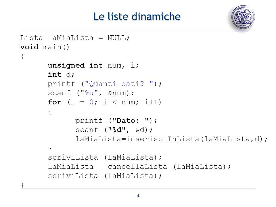 Le liste dinamiche Lista laMiaLista = NULL; void main() {