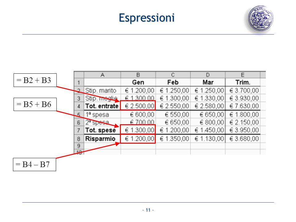Espressioni = B2 + B3 = B5 + B6 = B4 – B7