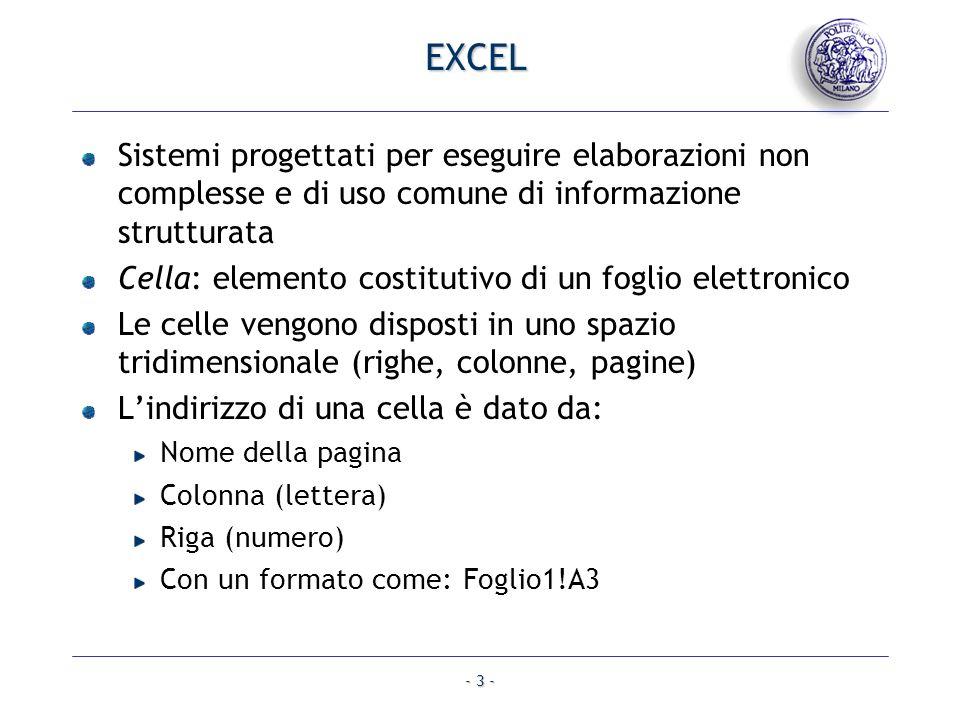 EXCEL Sistemi progettati per eseguire elaborazioni non complesse e di uso comune di informazione strutturata.