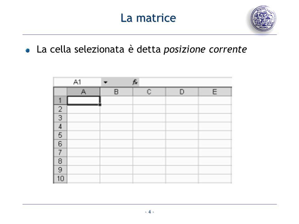 La matrice La cella selezionata è detta posizione corrente