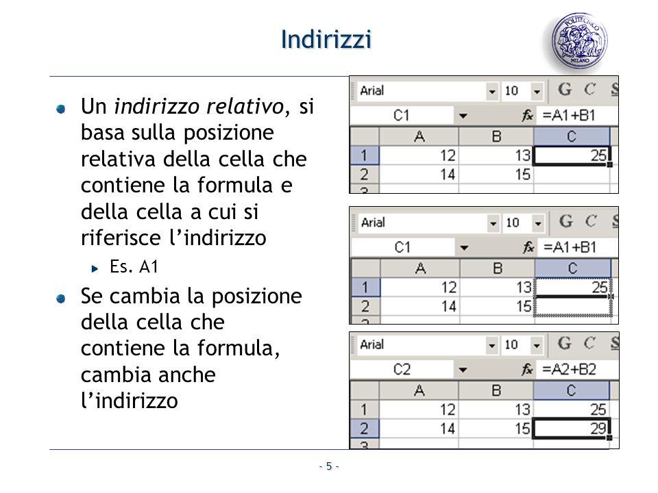 Indirizzi Un indirizzo relativo, si basa sulla posizione relativa della cella che contiene la formula e della cella a cui si riferisce l'indirizzo.
