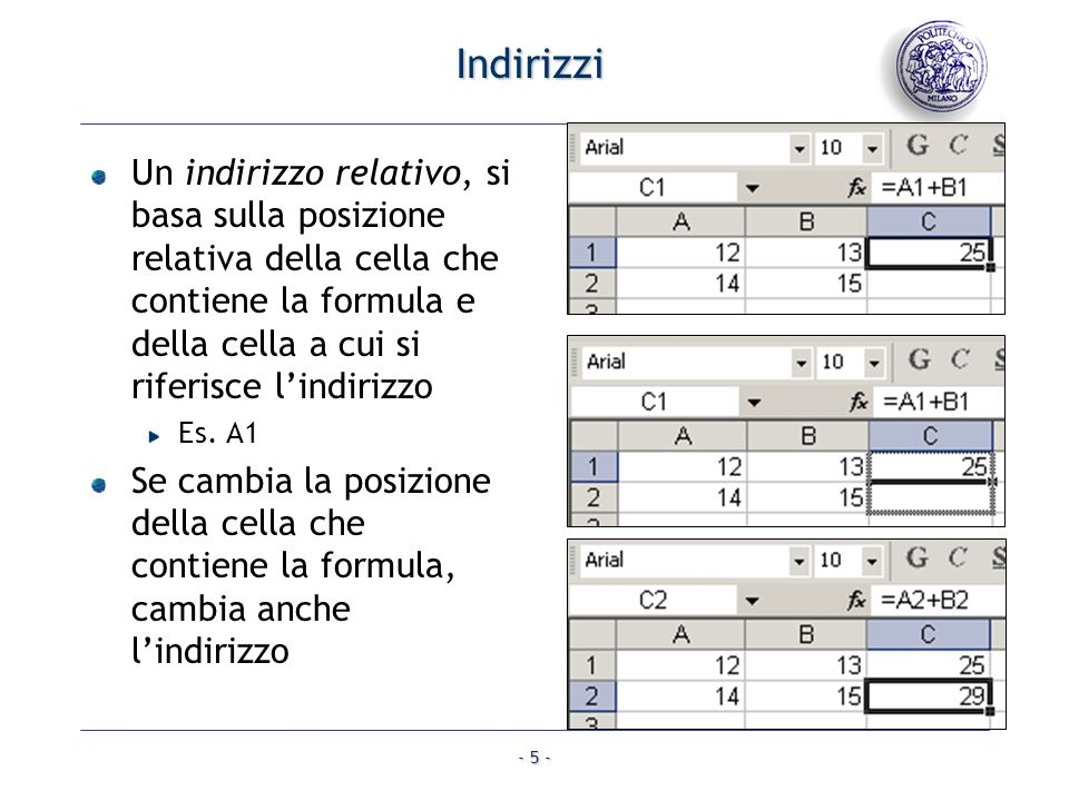 IndirizziUn indirizzo relativo, si basa sulla posizione relativa della cella che contiene la formula e della cella a cui si riferisce l'indirizzo.