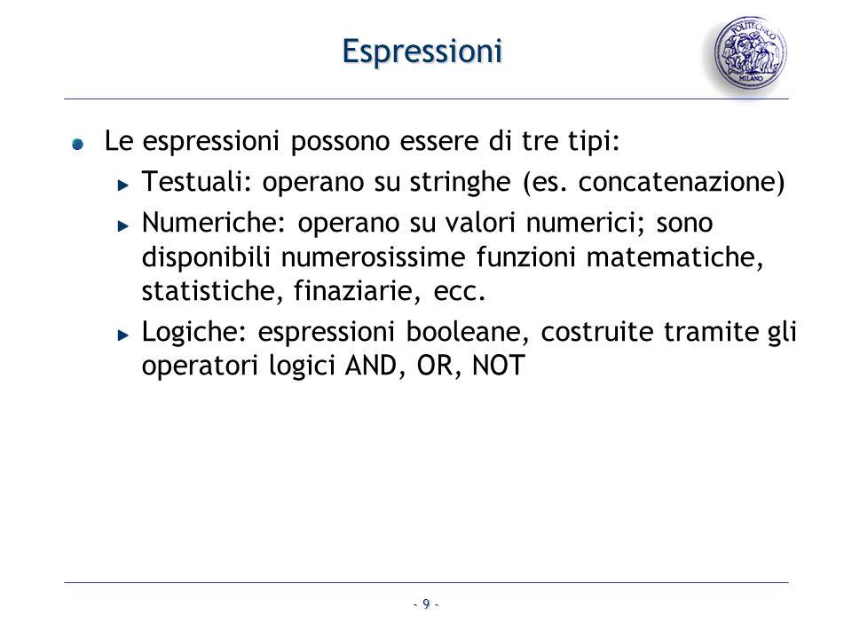 Espressioni Le espressioni possono essere di tre tipi: