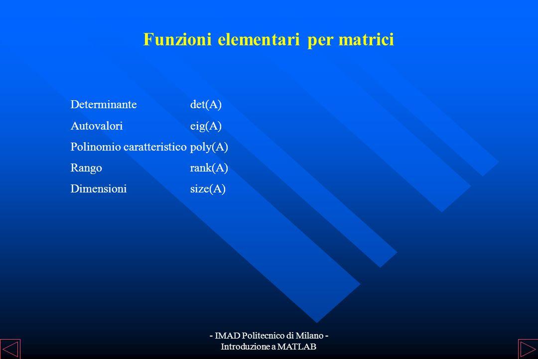 Funzioni elementari per matrici