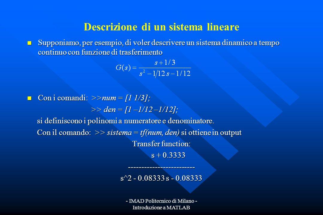 Descrizione di un sistema lineare