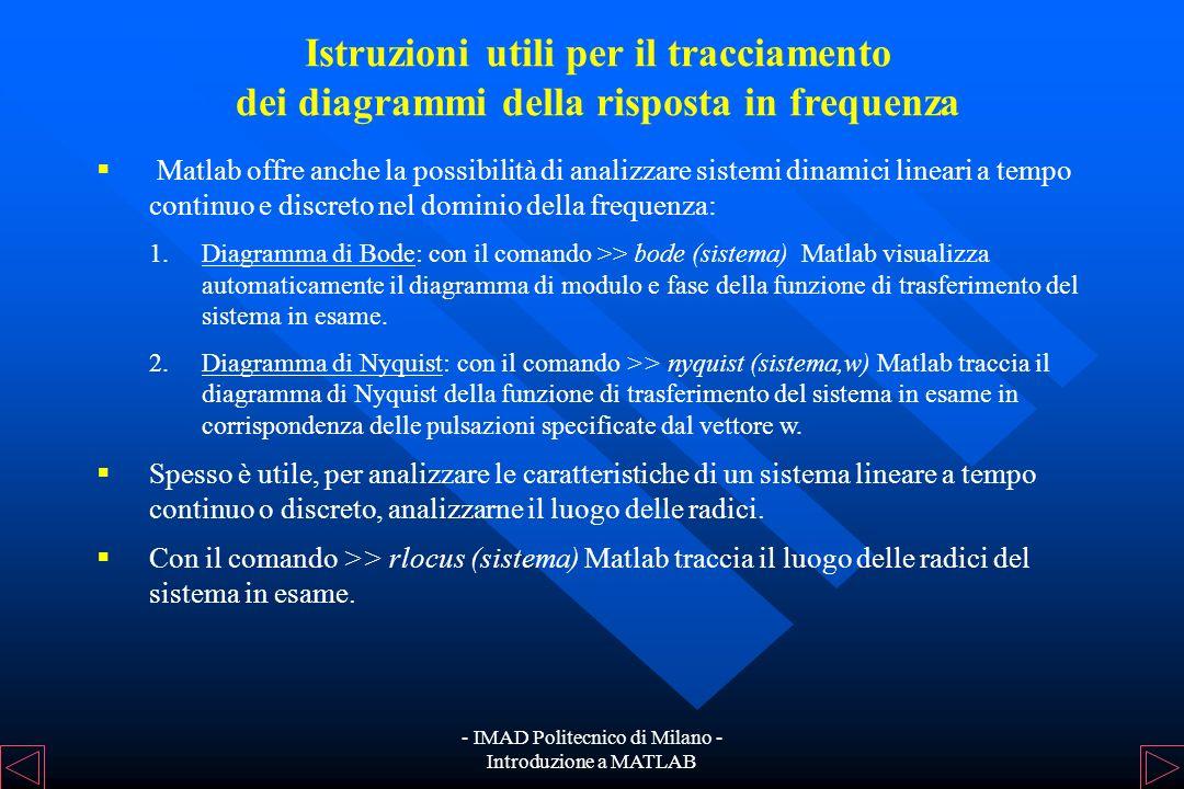 - IMAD Politecnico di Milano - Introduzione a MATLAB