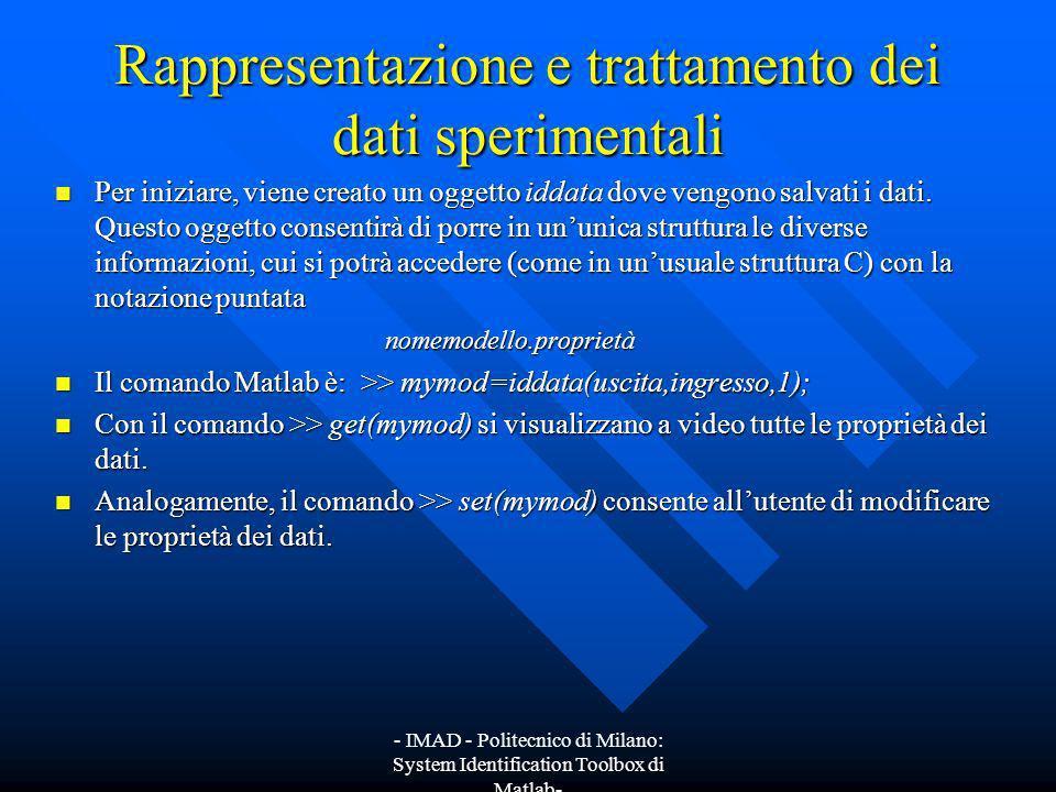 Rappresentazione e trattamento dei dati sperimentali