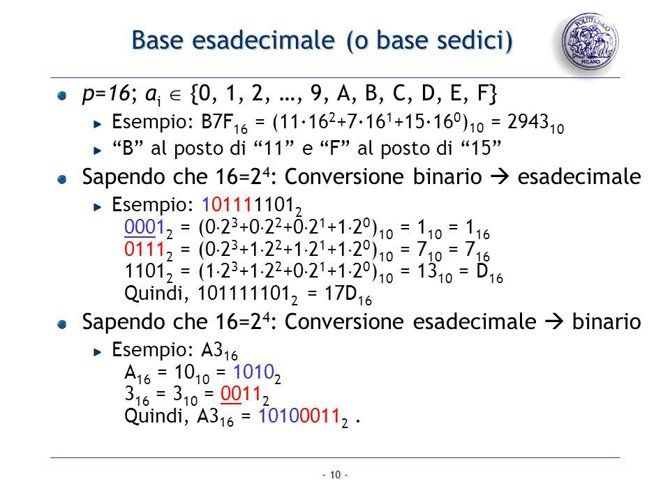 Base esadecimale (o base sedici)