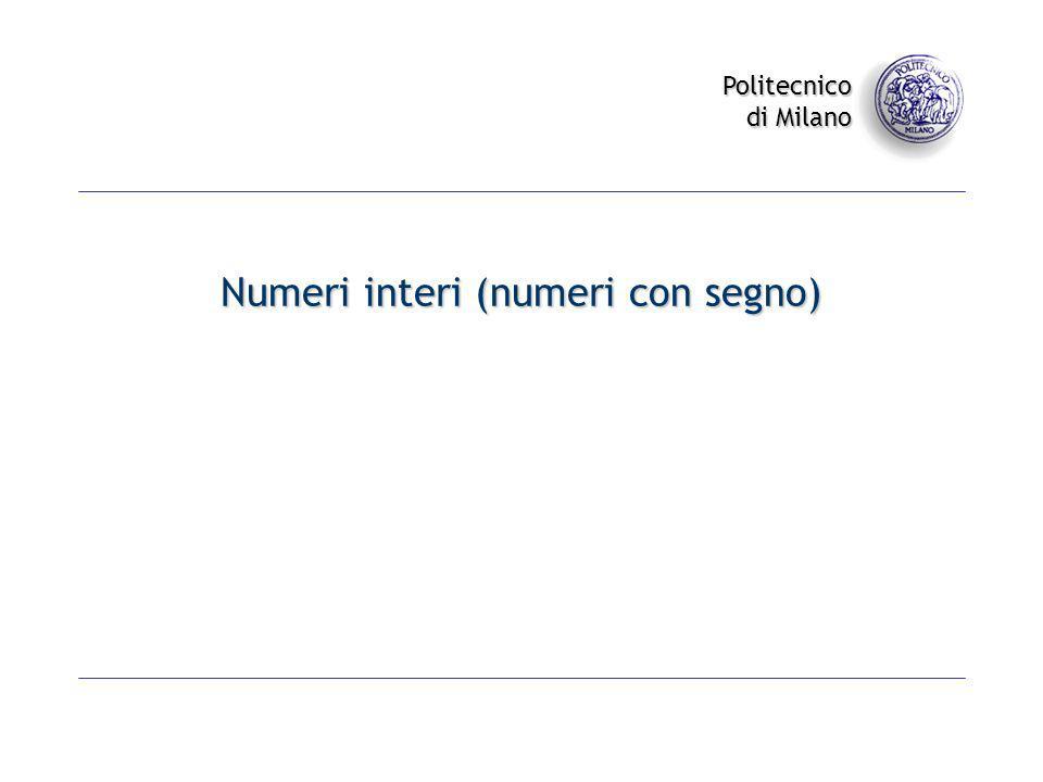 Numeri interi (numeri con segno)