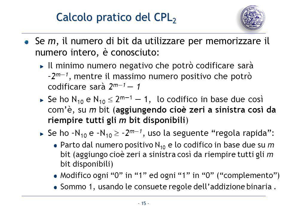Calcolo pratico del CPL2