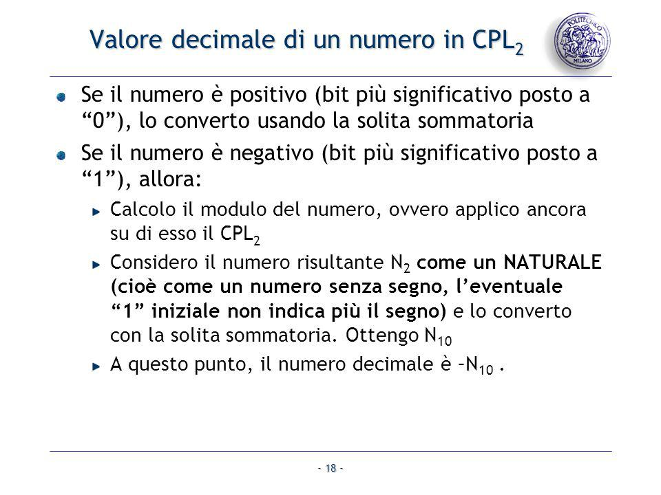 Valore decimale di un numero in CPL2