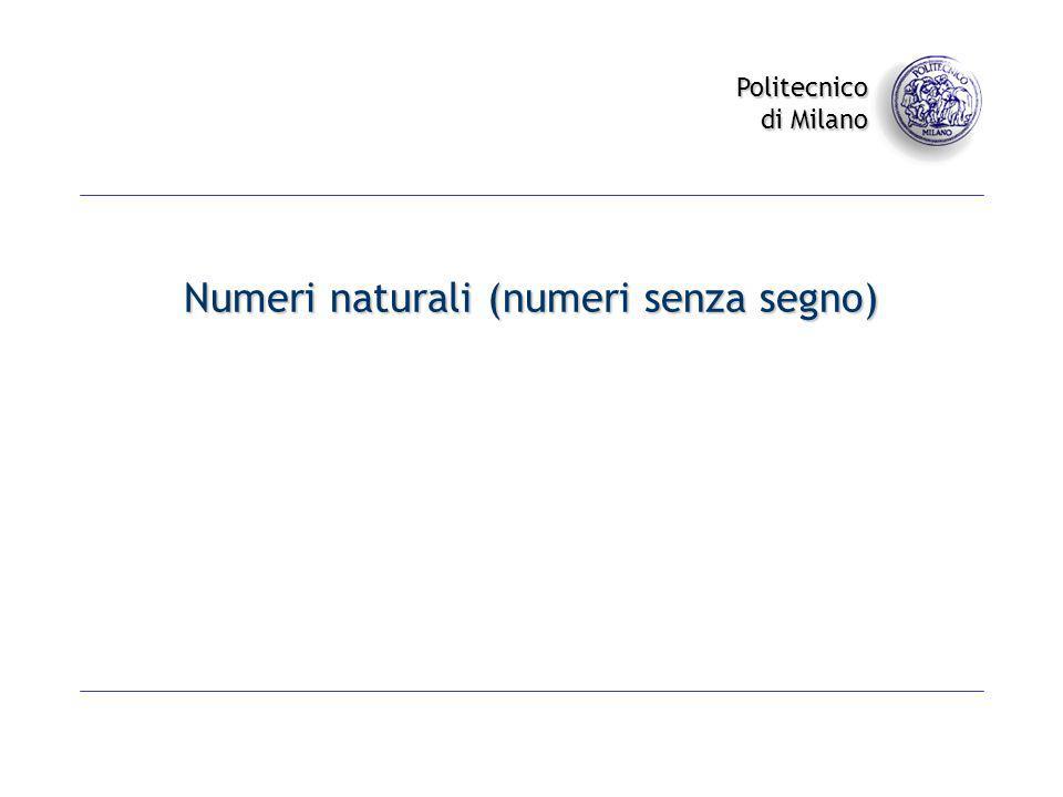 Numeri naturali (numeri senza segno)