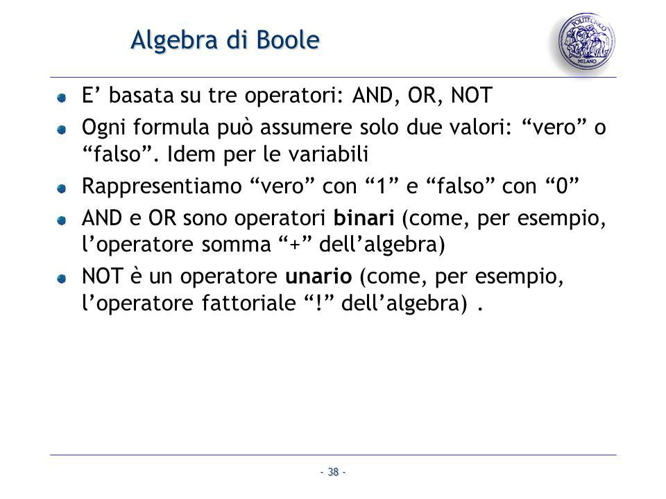 Algebra di Boole E' basata su tre operatori: AND, OR, NOT