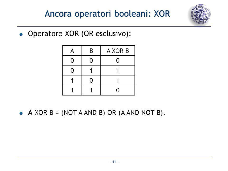 Ancora operatori booleani: XOR