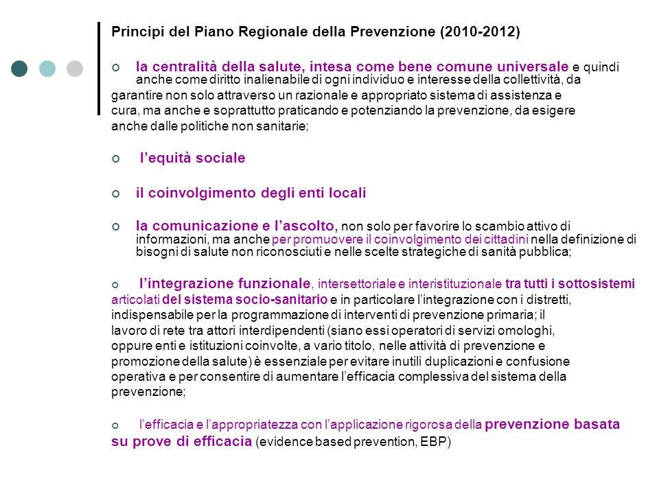 Principi del Piano Regionale della Prevenzione (2010-2012)