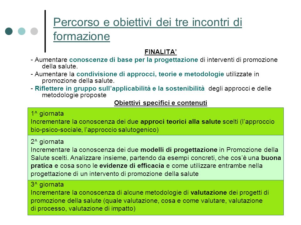 Percorso e obiettivi dei tre incontri di formazione