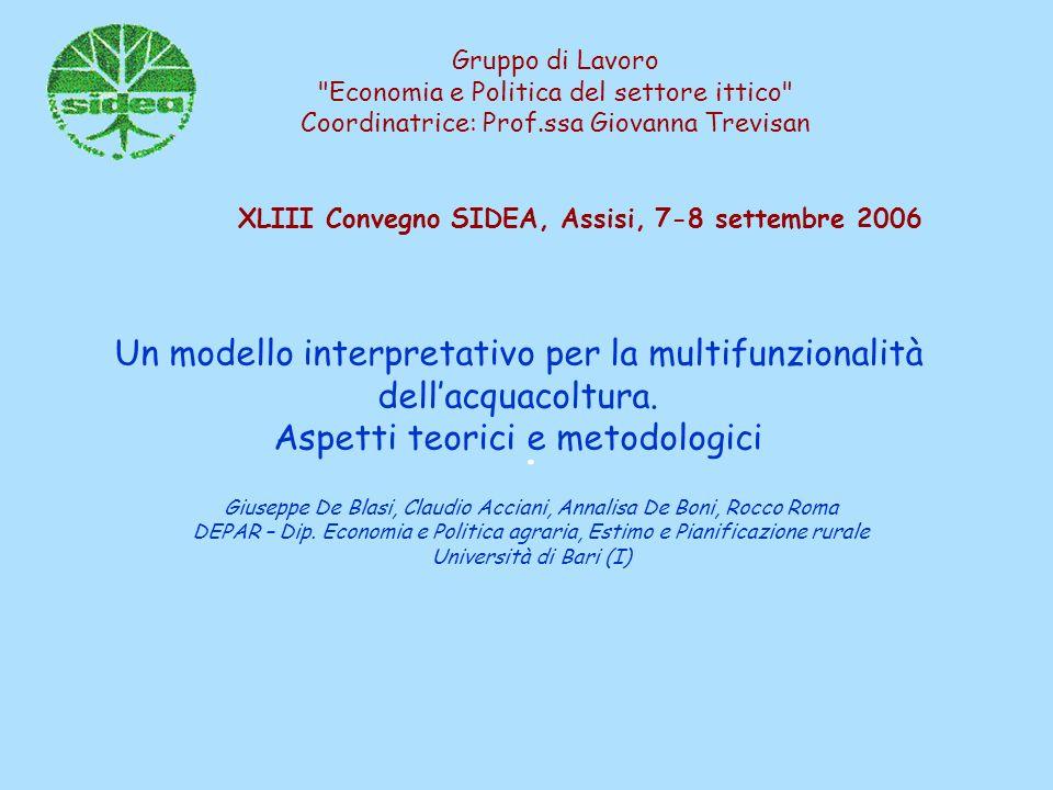 Gruppo di Lavoro Economia e Politica del settore ittico Coordinatrice: Prof.ssa Giovanna Trevisan.
