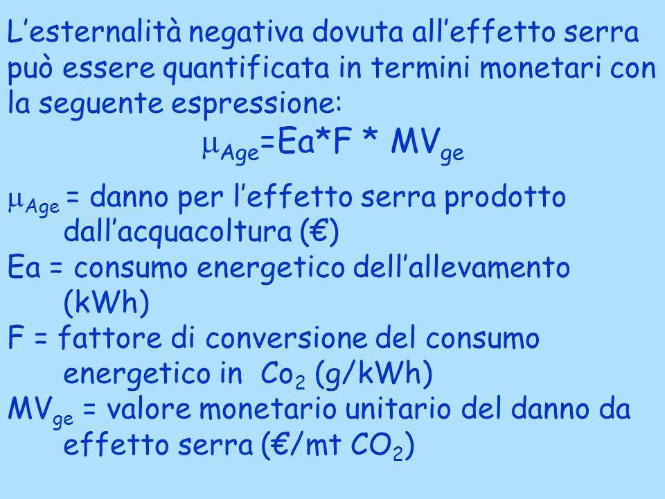 L'esternalità negativa dovuta all'effetto serra può essere quantificata in termini monetari con la seguente espressione: