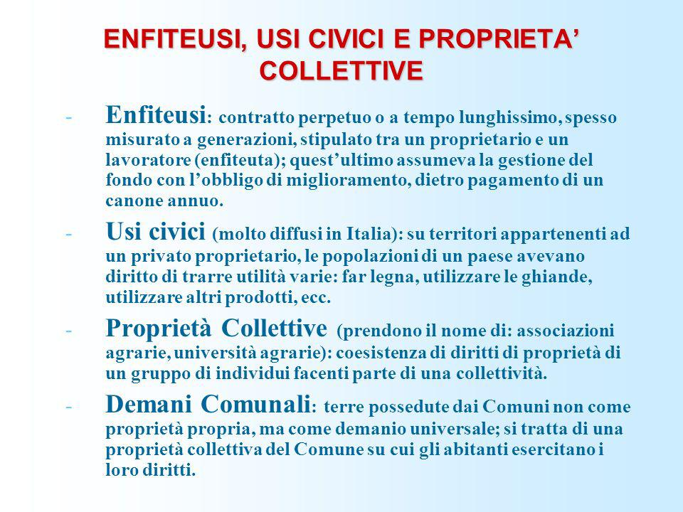 ENFITEUSI, USI CIVICI E PROPRIETA' COLLETTIVE