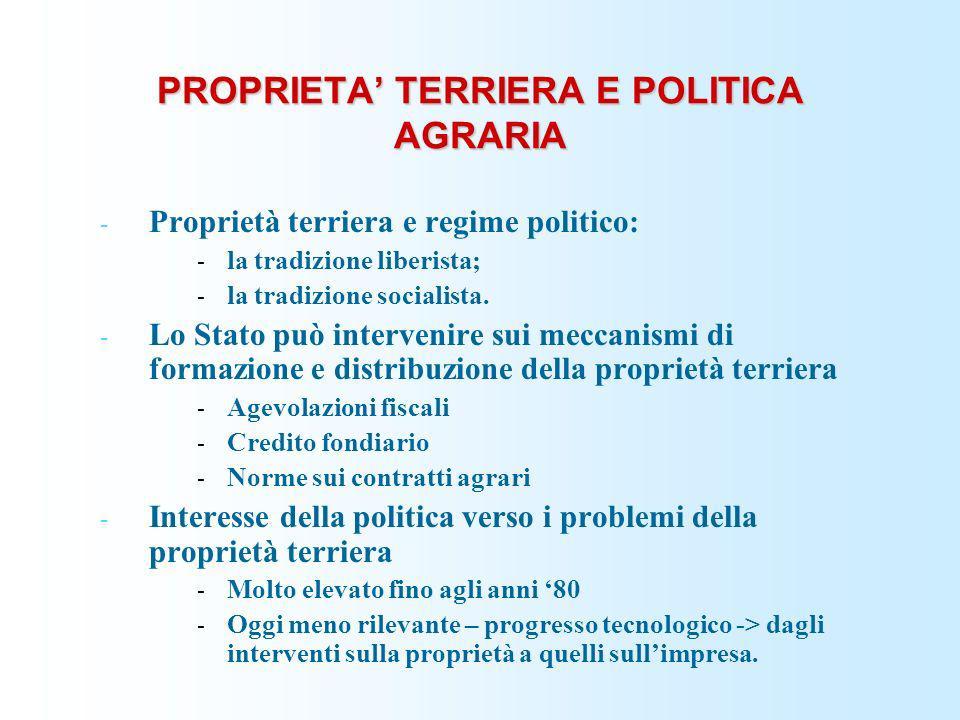 PROPRIETA' TERRIERA E POLITICA AGRARIA