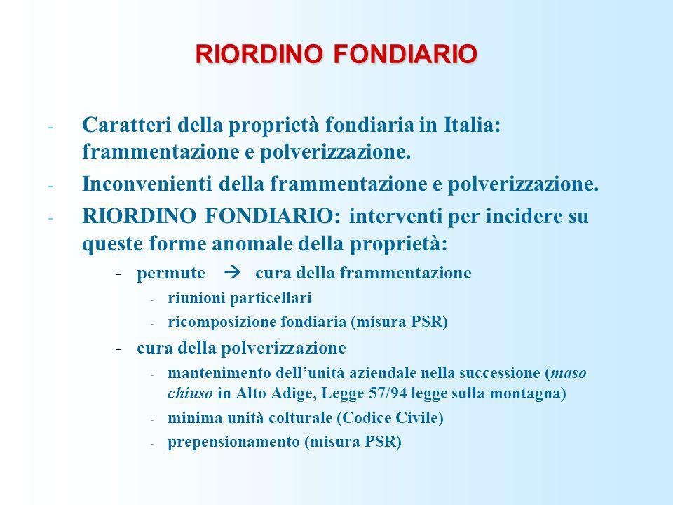 RIORDINO FONDIARIO Caratteri della proprietà fondiaria in Italia: frammentazione e polverizzazione.