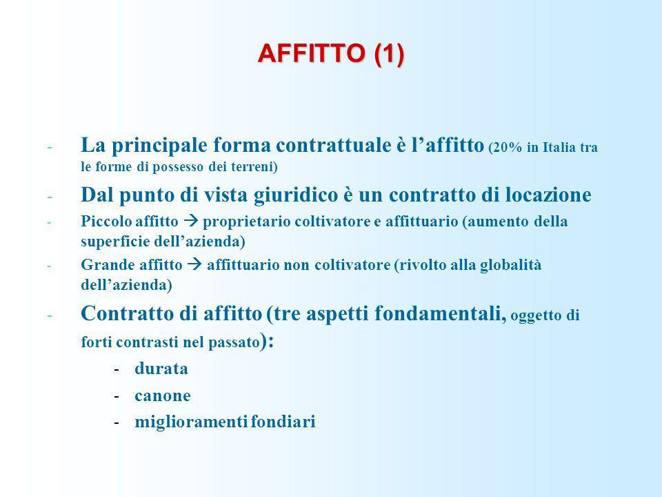 AFFITTO (1) La principale forma contrattuale è l'affitto (20% in Italia tra le forme di possesso dei terreni)