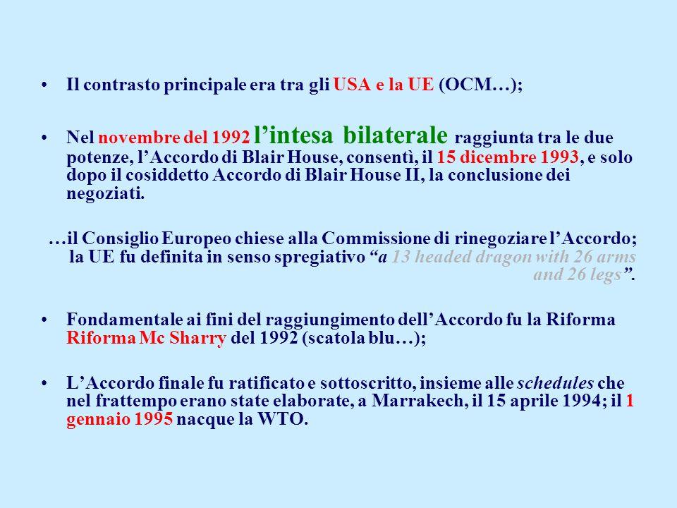 Il contrasto principale era tra gli USA e la UE (OCM…);