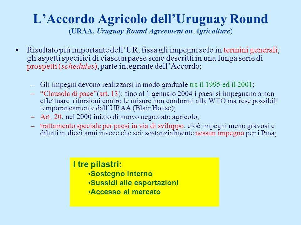 L'Accordo Agricolo dell'Uruguay Round (URAA, Uruguay Round Agreement on Agricolture)