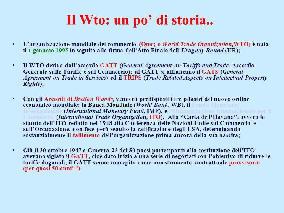 Il Wto: un po' di storia..