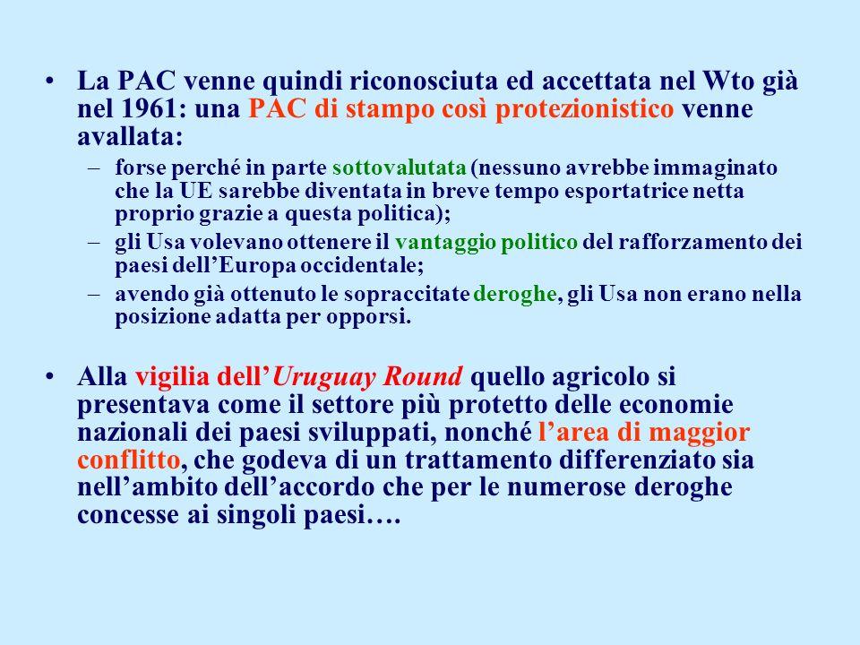 La PAC venne quindi riconosciuta ed accettata nel Wto già nel 1961: una PAC di stampo così protezionistico venne avallata: