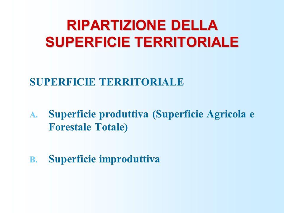 RIPARTIZIONE DELLA SUPERFICIE TERRITORIALE