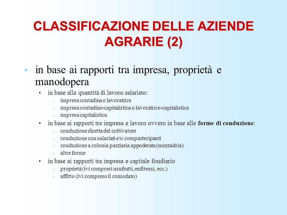 CLASSIFICAZIONE DELLE AZIENDE AGRARIE (2)