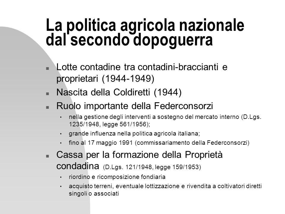 La politica agricola nazionale dal secondo dopoguerra
