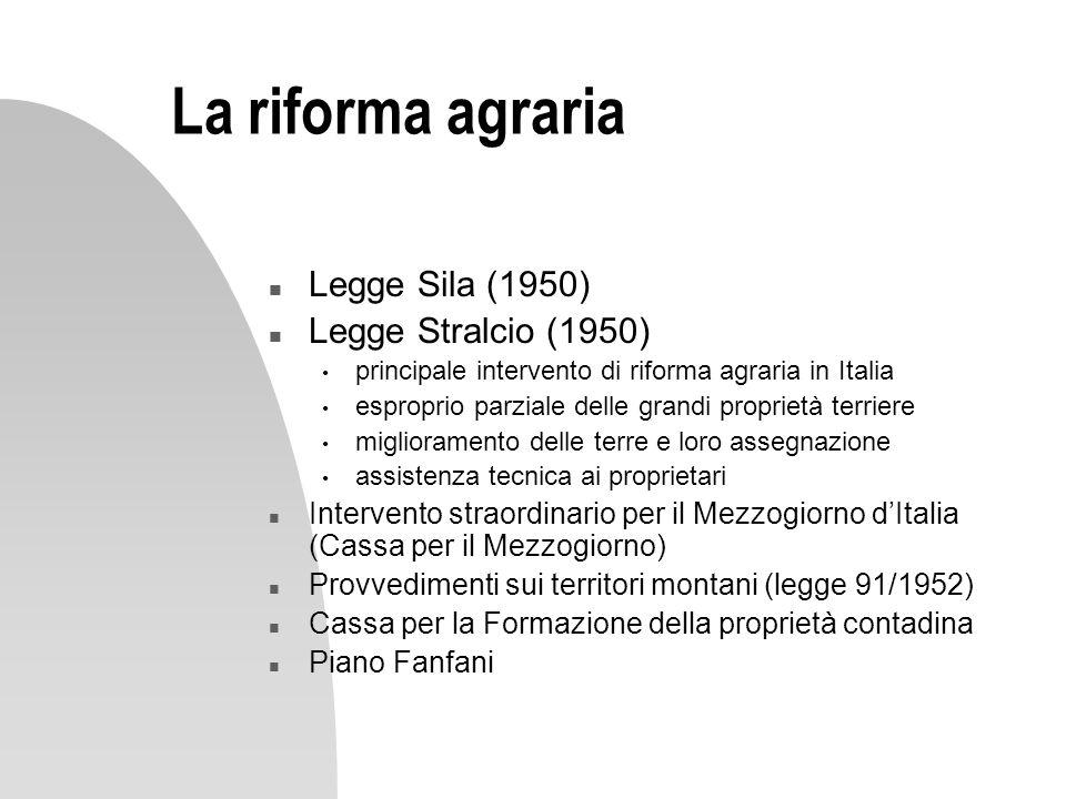 La riforma agraria Legge Sila (1950) Legge Stralcio (1950)