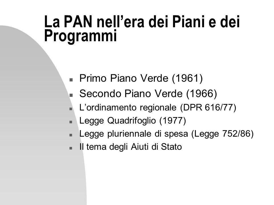 La PAN nell'era dei Piani e dei Programmi