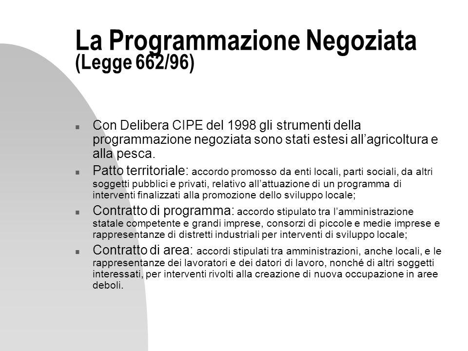 La Programmazione Negoziata (Legge 662/96)