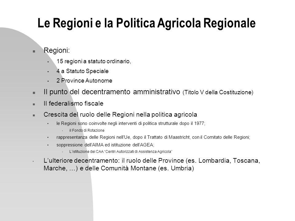 Le Regioni e la Politica Agricola Regionale