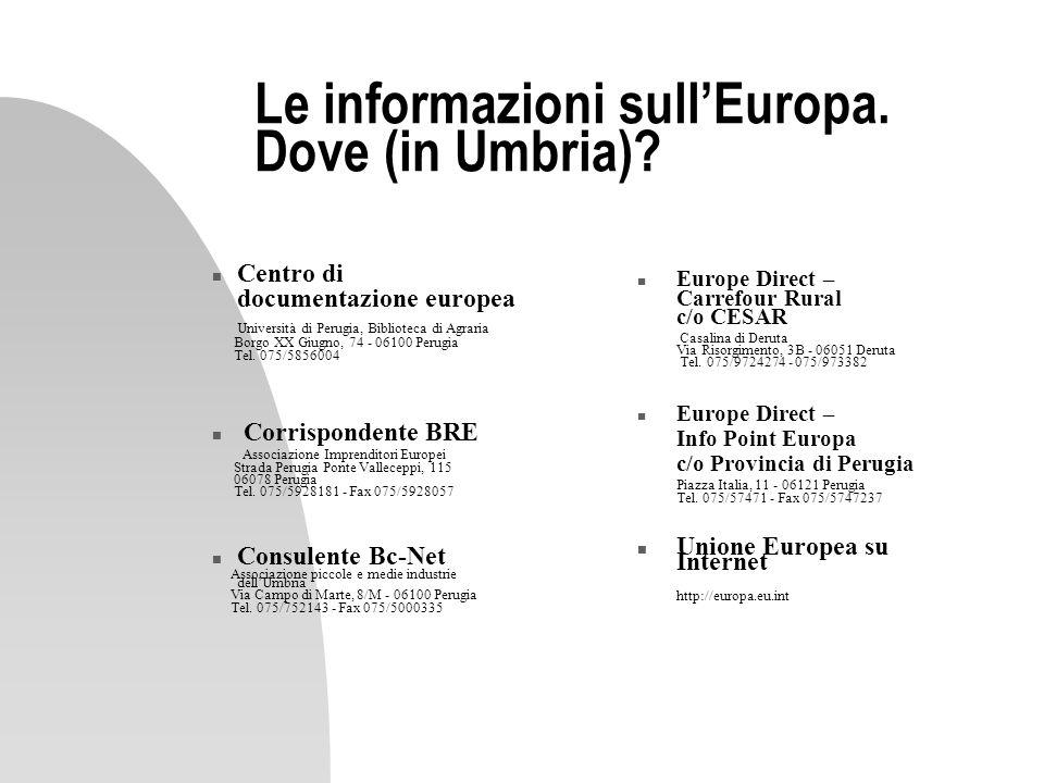 Le informazioni sull'Europa. Dove (in Umbria)